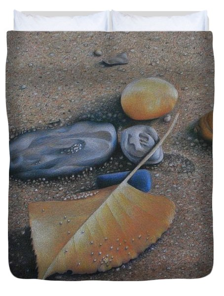 Duvet Cover featuring the painting Beach Still Life IIi by Pamela Clements