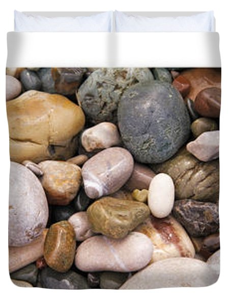Beach Stones Triptych Duvet Cover by Stelios Kleanthous
