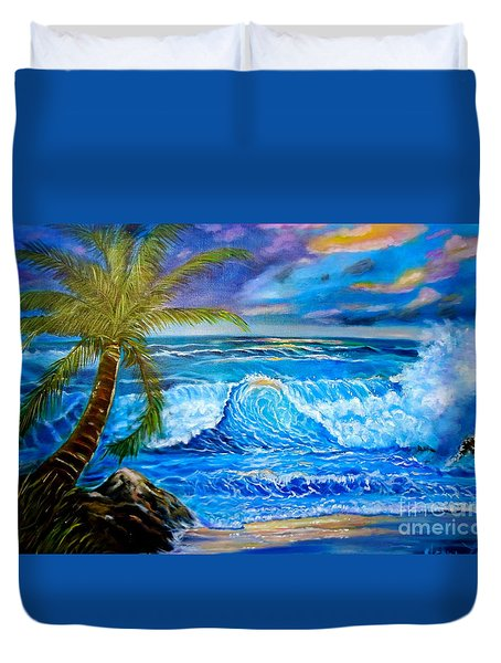Duvet Cover featuring the painting Beach Sunset In Hawaii by Jenny Lee