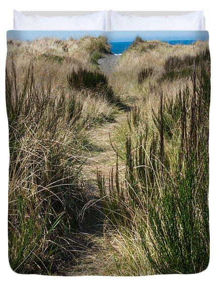 Beach Trail Duvet Cover by Tikvah's Hope