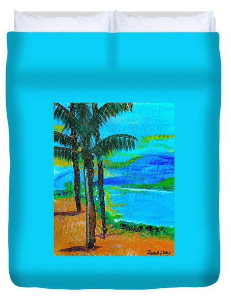 Duvet Cover featuring the painting Beach  By Janelle Dey by Janelle Dey