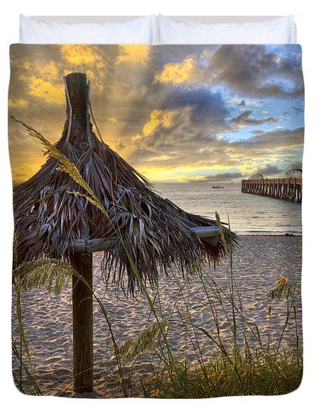 Beach Umbrella Duvet Cover by Debra and Dave Vanderlaan