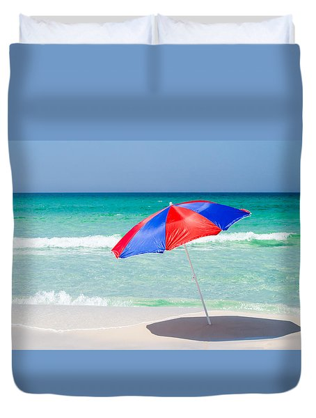 Beach Umbrella Duvet Cover by Shelby  Young