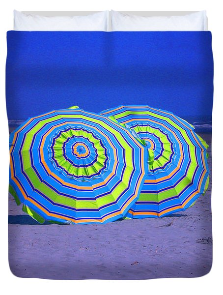 Beach Umbrellas By Jan Marvin Studios Duvet Cover