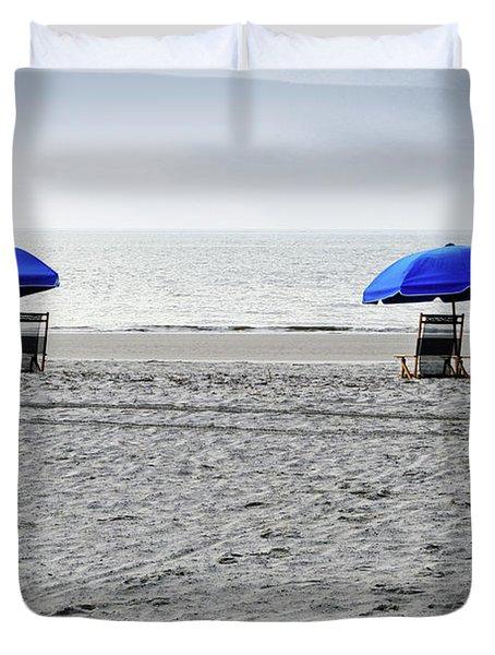 Beach Umbrellas On A Cloudy Day Duvet Cover