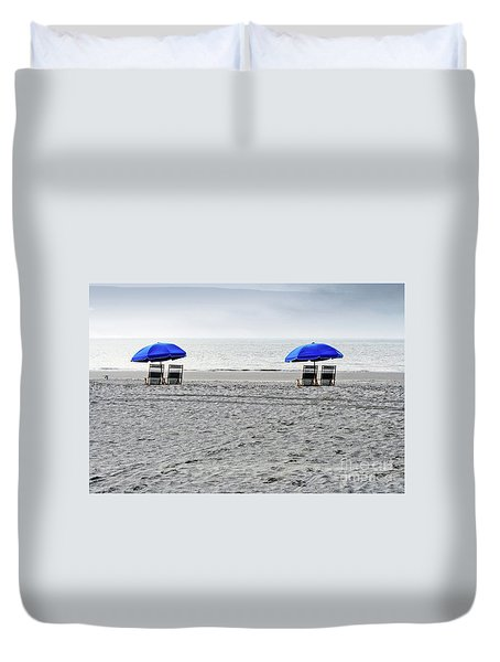 Beach Umbrellas On A Cloudy Day Duvet Cover