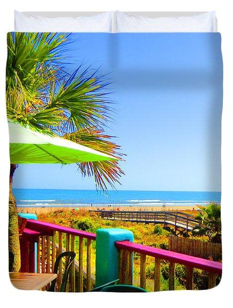 Beach View Of The Ocean By Jan Marvin Studios Duvet Cover