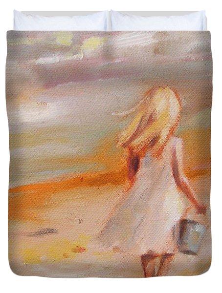 Beach Walk Girl Duvet Cover