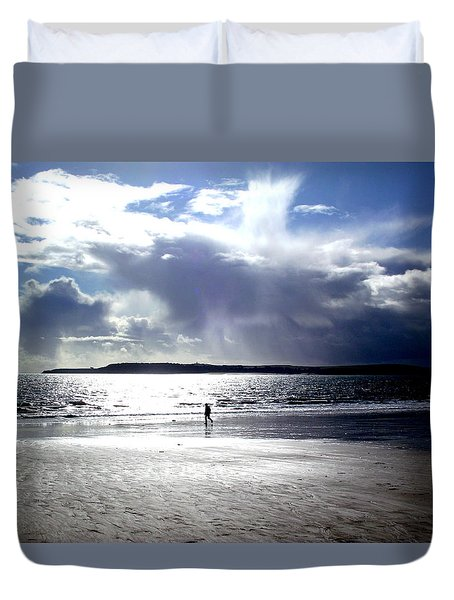 Lone Beach Walker Duvet Cover