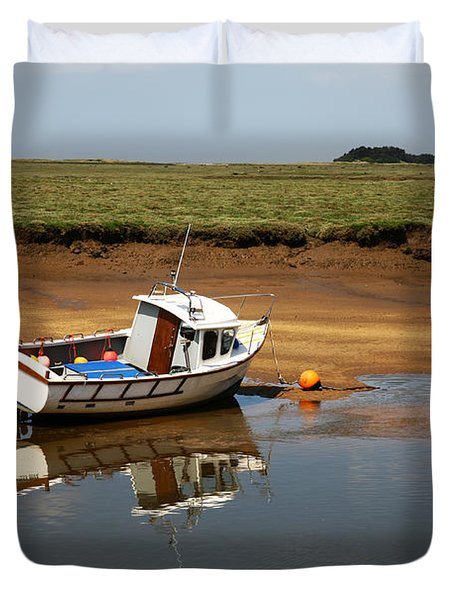 Beached Boat In River Estuary Duvet Cover