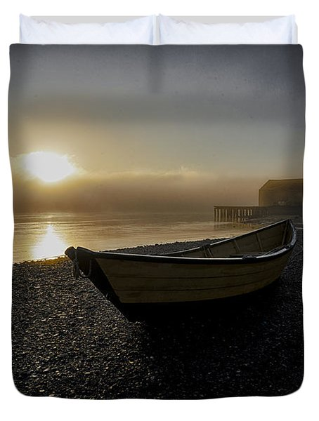 Beached Dory In Lifting Fog  Duvet Cover