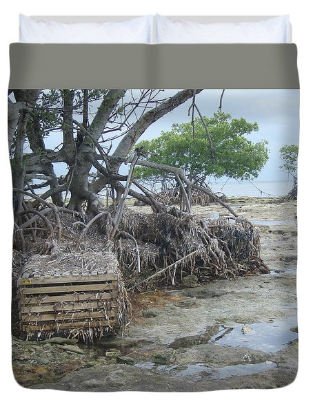 Duvet Cover featuring the photograph Beached Lobster Trap by Robert Nickologianis