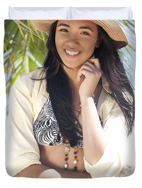 Beachy Woman Duvet Cover by Brandon Tabiolo