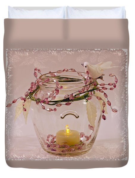 Duvet Cover featuring the photograph Beaded Candle Jar by Sandra Foster