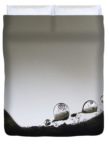 Beads Of Rain With Particles Floating Duvet Cover by Dan Friend