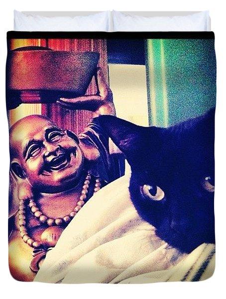 Buddha And Beanie Duvet Cover