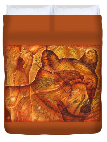 Bear Hands Duvet Cover by Kevin Chasing Wolf Hutchins