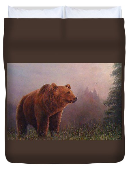 Duvet Cover featuring the painting Bear In The Mist by Donna Tucker