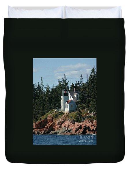 Bear Island Lighthouse Duvet Cover by Kathleen Struckle