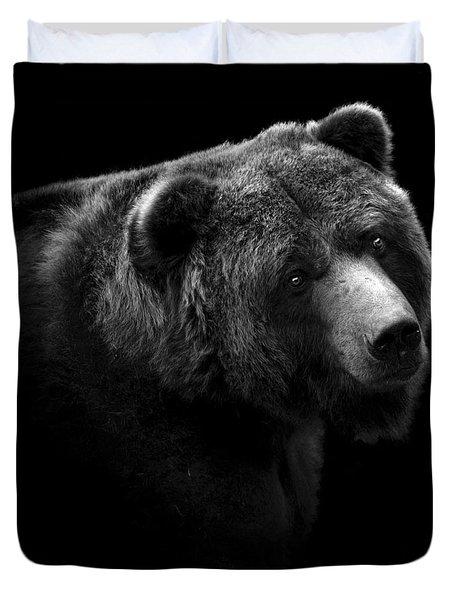 Portrait Of Bear In Black And White Duvet Cover
