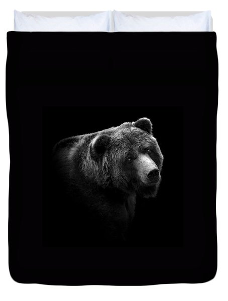 Portrait Of Bear In Black And White Duvet Cover