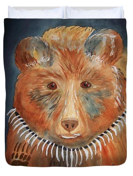 Duvet Cover featuring the painting Bear Medicine by Ellen Levinson