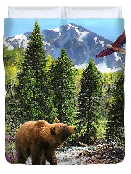 Duvet Cover featuring the painting Bear Necessities Ill by Doug Kreuger