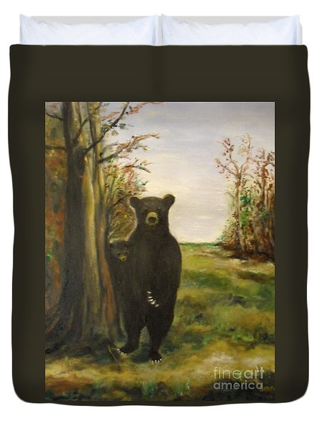 Duvet Cover featuring the painting Bear Necessity by Laurie Lundquist