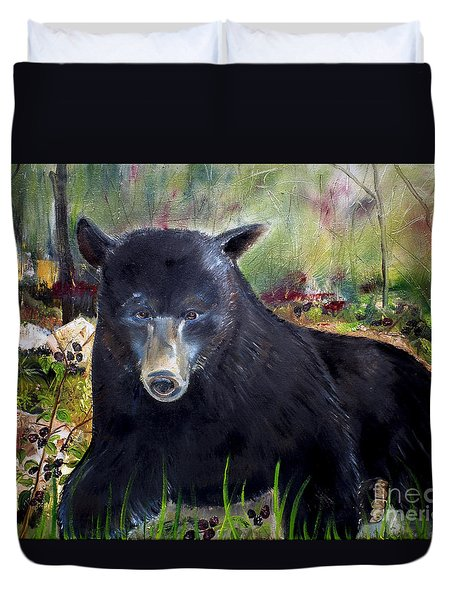 Bear Painting - Blackberry Patch - Wildlife Duvet Cover