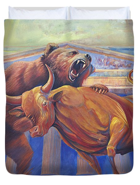 Bear Vs Bull Duvet Cover by Rob Corsetti