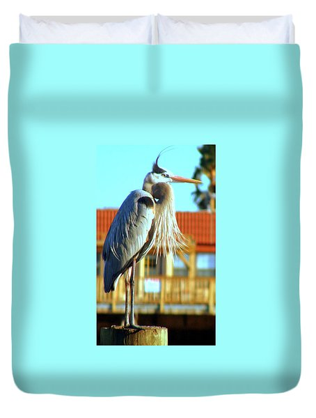 Duvet Cover featuring the photograph Bearded Great Blue Heron by Antonia Citrino