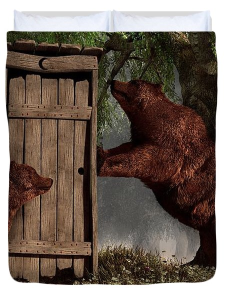 Bears Around The Outhouse Duvet Cover