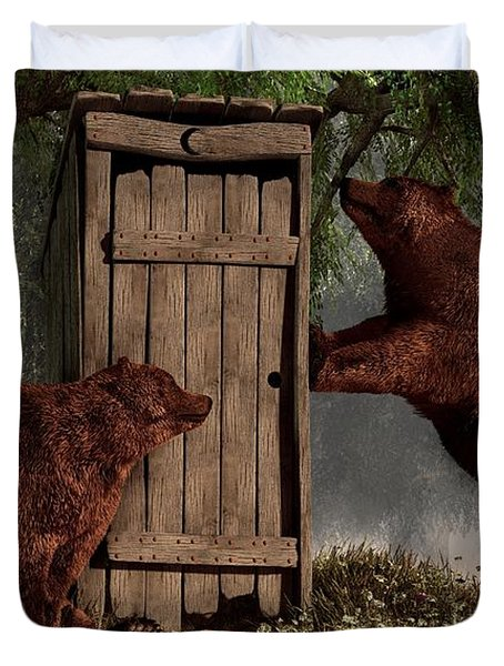 Duvet Cover featuring the digital art Bears Around The Outhouse by Daniel Eskridge