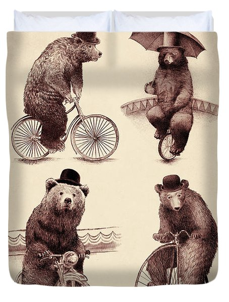 Bears On Bicycles Duvet Cover by Eric Fan