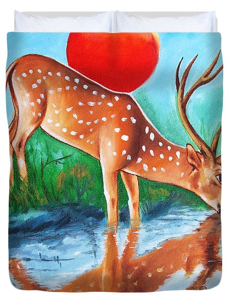 Duvet Cover featuring the painting Beat The Heat by Ragunath Venkatraman