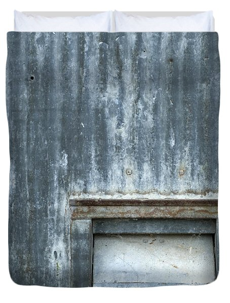 Beat Up Louvers In A Corrugated Wall Duvet Cover