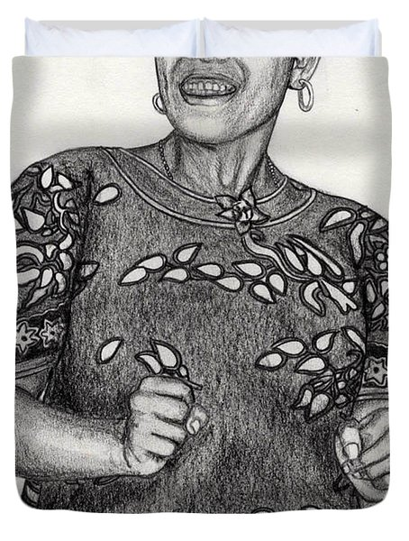 Duvet Cover featuring the drawing Beat Woman by Lew Davis