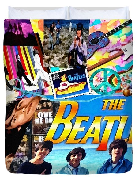 Beatles For Summer Duvet Cover by Mo T