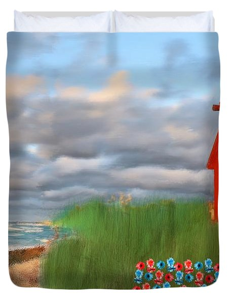Beautification Of A Lighthouse Duvet Cover by Bruce Nutting