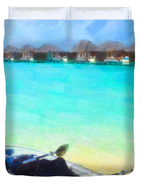 Beautiful Beach With Water Bungalows At Maldives Duvet Cover by Lanjee Chee