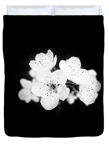 Beautiful Blossoms In Black And White Duvet Cover