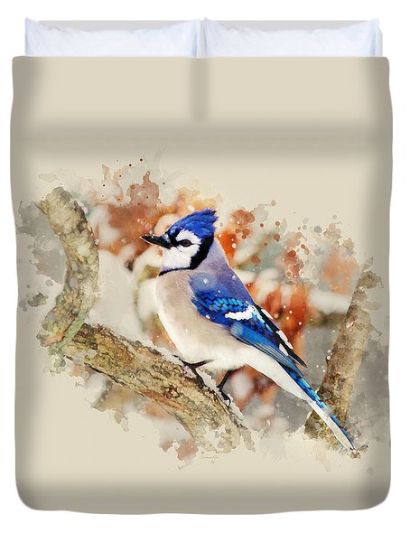 Beautiful Blue Jay - Watercolor Art Duvet Cover by Christina Rollo