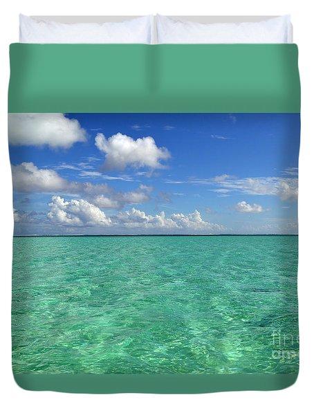Beautiful Bora Bora Green Water And Blue Sky Duvet Cover by Eva Kaufman