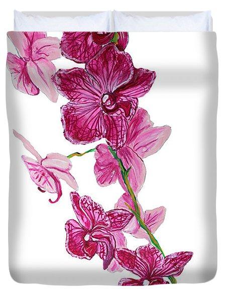 Beautiful Burgundy Orchid Flower Original Floral Painting Pink Orchid I By Megan Duncanson Madart Duvet Cover by Megan Duncanson