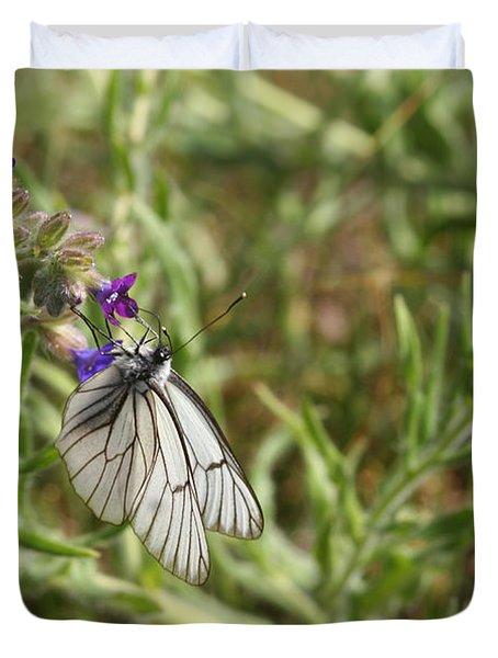 Beautiful Butterfly In Vegetation Duvet Cover