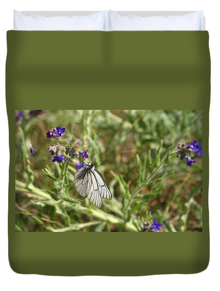 Beautiful Butterfly In Vegetation Duvet Cover