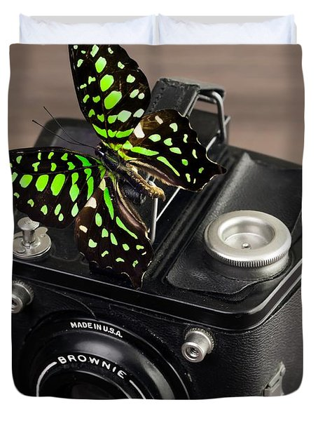 Beautiful Butterfly On A Kodak Brownie Camera Duvet Cover