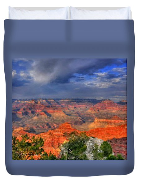 Duvet Cover featuring the painting Beautiful Canyon by Bruce Nutting