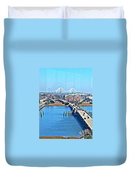 Duvet Cover featuring the photograph  Charleston S C City View by Joetta Beauford