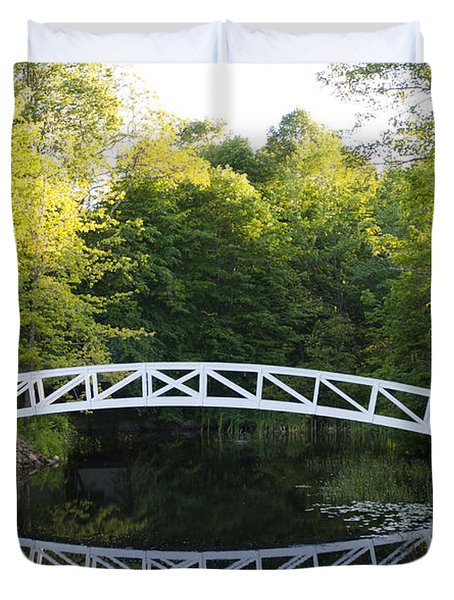 Beautiful Curved Bridge In Somesville Duvet Cover by Bill Bachmann